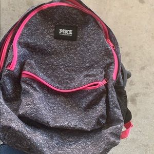 PINK VS Heathered Grey/Pink Backpack EUC